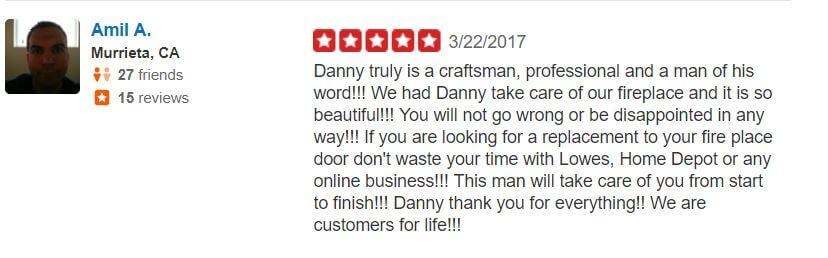 Yelp Reviews Fireplace Door Guy