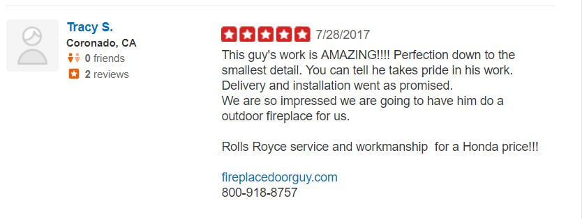 Yelp Reviews Fireplace Door Guy